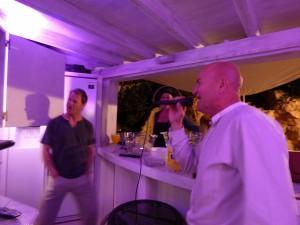 Dave and Andy karaoke at Villa Ocean View
